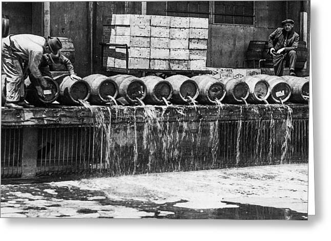 Prohibition - Down The Drain Greeting Card by Bill Cannon