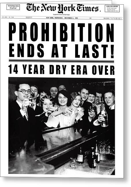 Prohibition Ends At Last Headline 1933 White Greeting Card by Daniel Hagerman