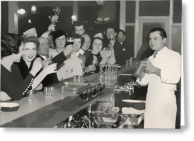 Prohibition Era Bar And Bartender Greeting Card by Dan Sproul