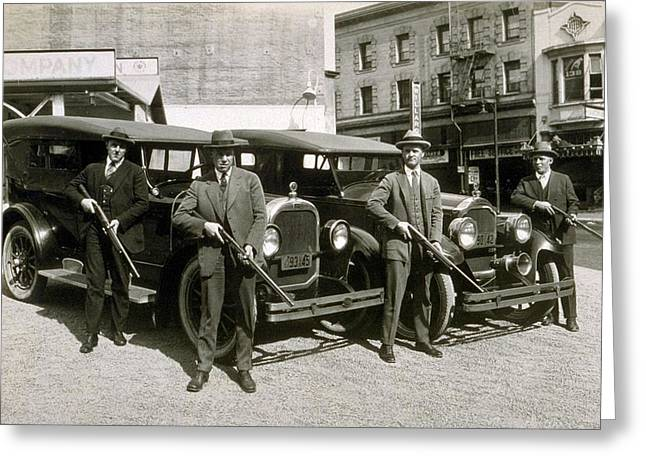 Prohibition Era Tough Men Greeting Card by Daniel Hagerman