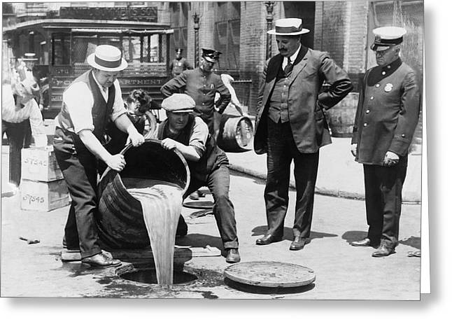 Prohibition - Pouring Beer Down The Drain Greeting Card by Bill Cannon