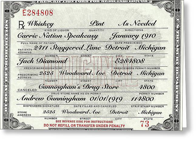 Greeting Card featuring the photograph Prohibition Prescription Certificate Carrie Nation Speakeasy by David Patterson