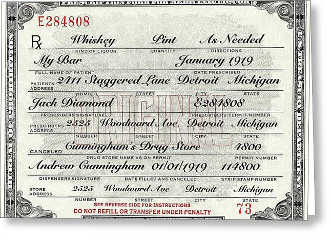 Greeting Card featuring the photograph Prohibition Prescription Certificate My Bar, by David Patterson