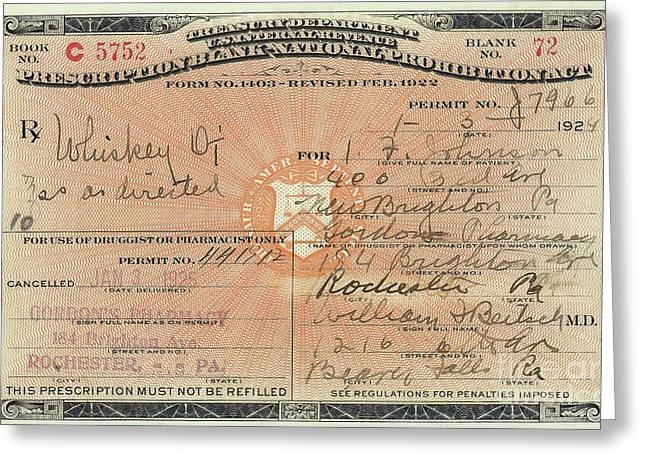 Prohibition Prescription For Whiskey Greeting Card