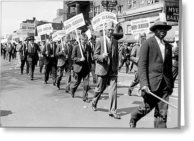 Prohibition Protest March Greeting Card by Jon Neidert