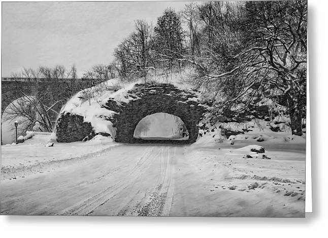 Promatory Rock Tunnel In Winter - Philadelphia  Greeting Card by Bill Cannon