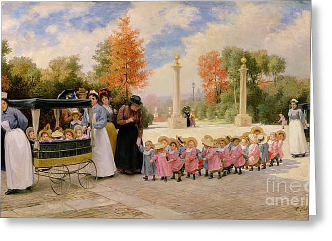 Promenade Des Enfants  Greeting Card by Timoleon Marie Lobrichon