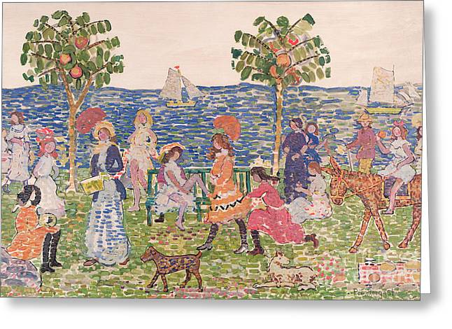 Coastal Trees Greeting Cards - Promenade Greeting Card by Maurice Brazil Prendergast