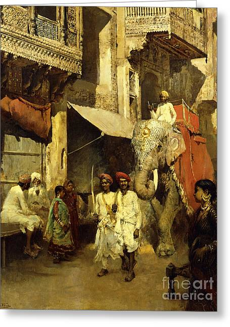 Promenade On An Indian Street Greeting Card