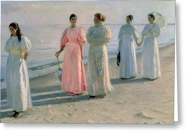 Promenade On The Beach Greeting Card by Michael Peter Ancher