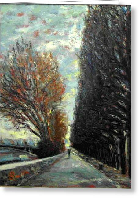 Greeting Card featuring the painting Promenade by Walter Casaravilla