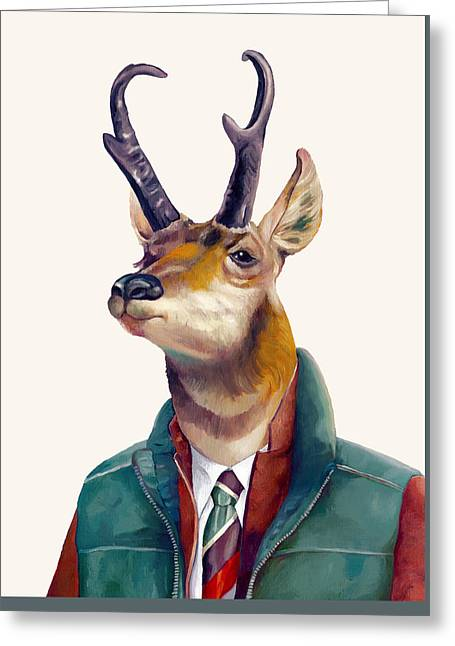 pronghorn Deer Greeting Card by Animal Crew