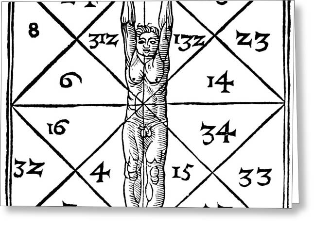 Proportions Of Man And Their Occult Numbers From De Occulta Philosophia Greeting Card