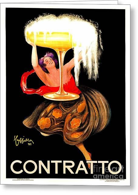 Prosecco Contratto Leonetto Cappiello Greeting Card by Heidi De Leeuw
