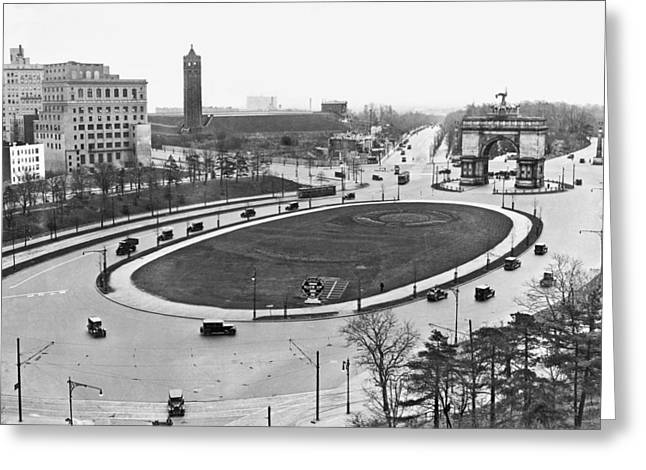 Prospect Park Plaza Greeting Card by Underwood Archives