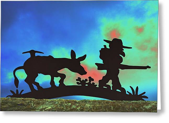 Prospector's Silhouette Greeting Card by Richard Henne