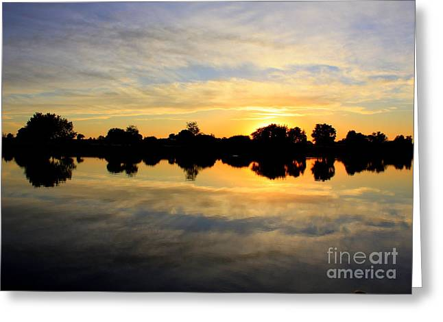 Prosser Sunset - Blue And Gold Greeting Card by Carol Groenen