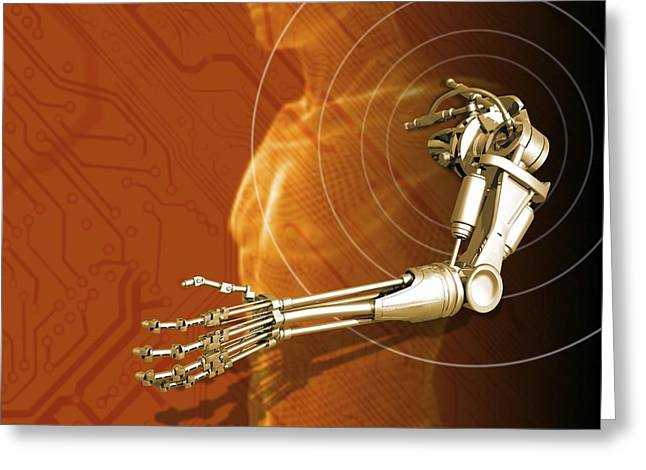 Prosthetic Robotic Arm, Computer Artwork Greeting Card