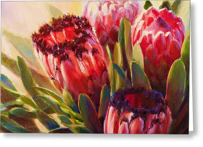 Greeting Card featuring the painting Protea - Tropical Flowers From Hawaii by Karen Whitworth