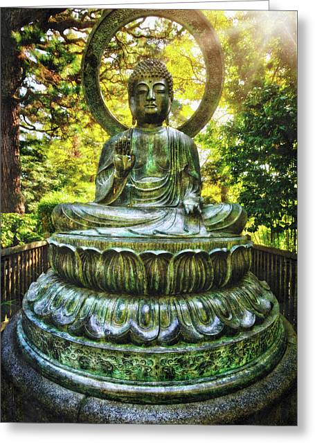 Protection Buddha In The Japanese Tea Garden At Golden Gate Park - San Francisco Greeting Card
