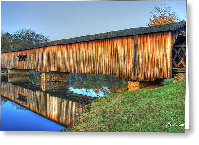 Protection That Works 2 Watson Mill Covered Bridge Reflections Greeting Card by Reid Callaway