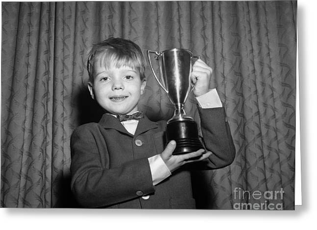 Proud Boy With Trophy, C.1950s Greeting Card