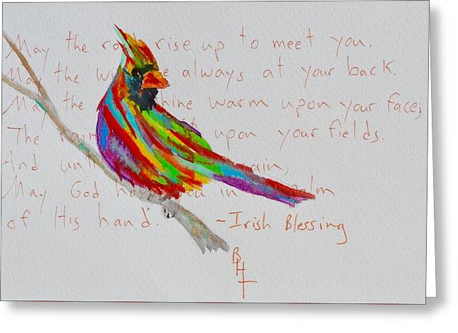 Proud Cardinal With Blessing Greeting Card by Beverley Harper Tinsley