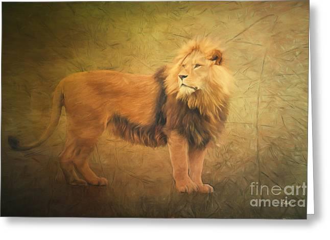 Proud Lion Greeting Card by Jutta Maria Pusl