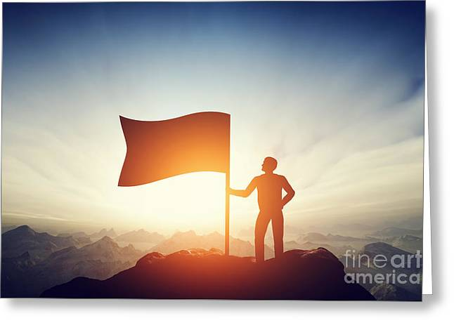 Proud Man Raising A Flag On The Peak Of The Mountain. Challenge, Achievement Greeting Card