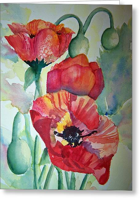 Proud Poppies Greeting Card by Sandy Collier