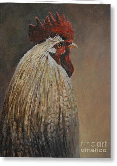 Proud Rooster Greeting Card by Charlotte Yealey