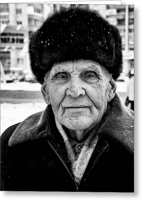 Proud Russian Old Man With Fur Hat In Winter Greeting Card by John Williams