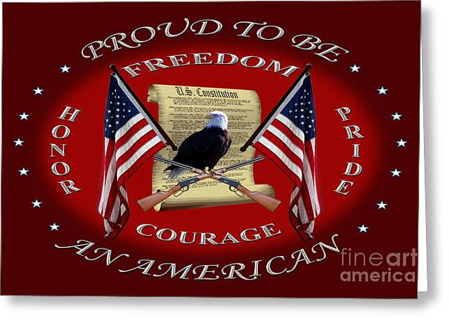 Proud To Be An American Greeting Card by Michael Waisner
