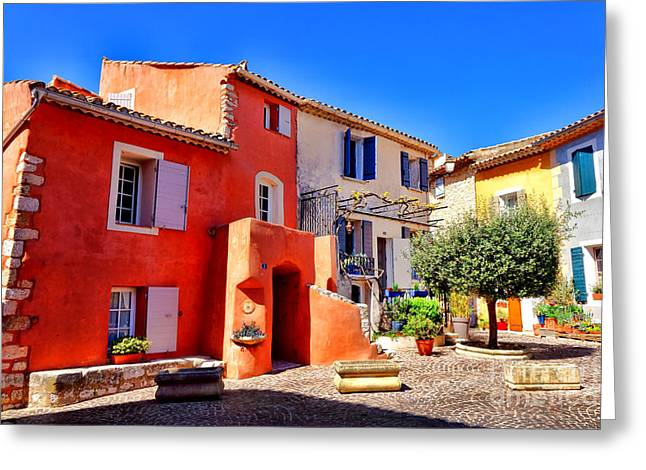 Provencal Plaza Greeting Card by Olivier Le Queinec