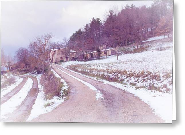 Provencal Village In Snow Greeting Card