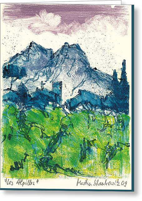 Greeting Card featuring the painting Provence Landscape Alpilles by Martin Stankewitz