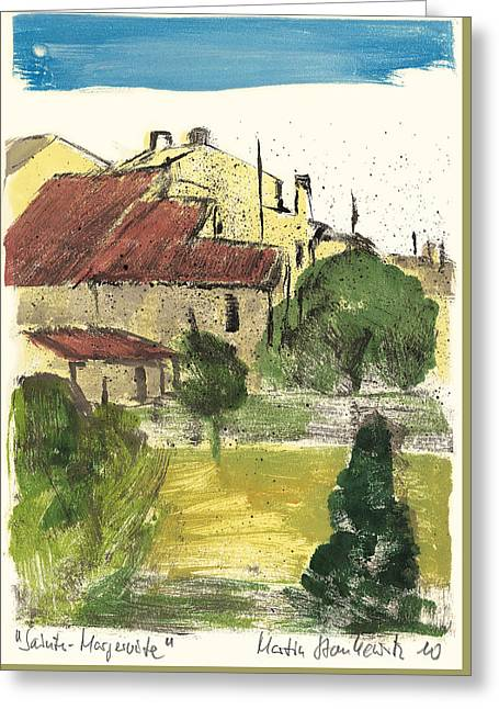 Greeting Card featuring the painting Provence Landscape Sainte Marguerite by Martin Stankewitz