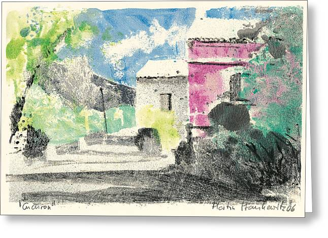 Greeting Card featuring the painting Provence Landscape Village Cucuron by Martin Stankewitz