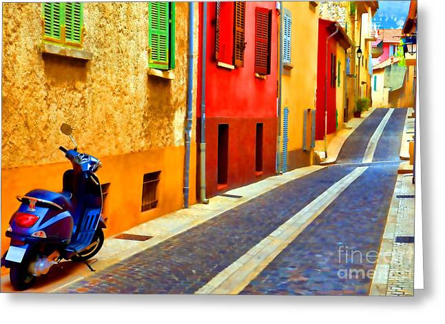 Provence Street With Scooter Greeting Card by Olivier Le Queinec
