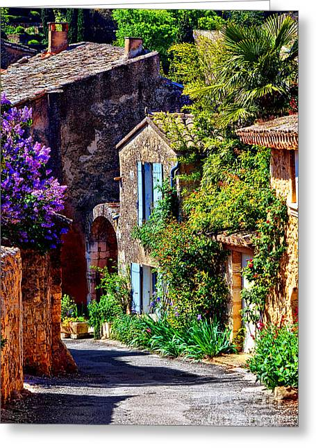 Provence Village Street In Spring Greeting Card by Olivier Le Queinec