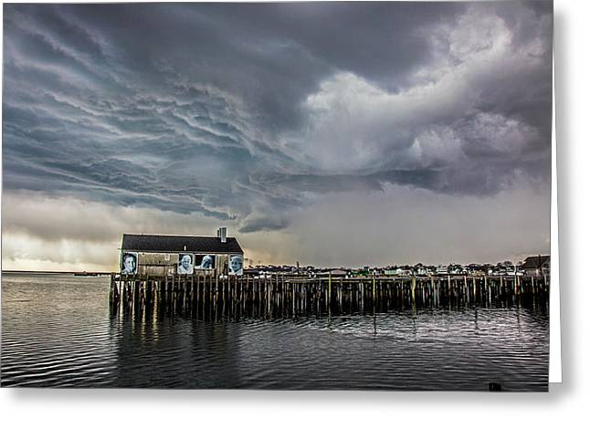 Provincetown Storm, Cabrals Wharf Greeting Card by Charles Harden