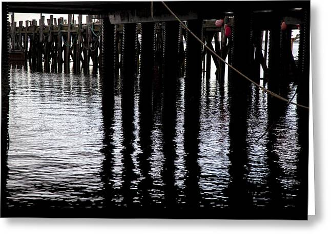 Provincetown Wharf Reflections Greeting Card by Charles Harden