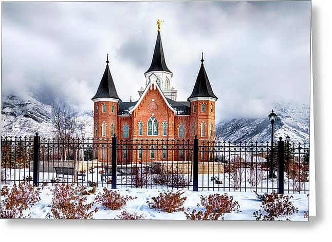 Greeting Card featuring the photograph Provo City Center Temple Canvas Print, Photographic Print, Art Print, Framed Print, Greeting Card, by David Millenheft