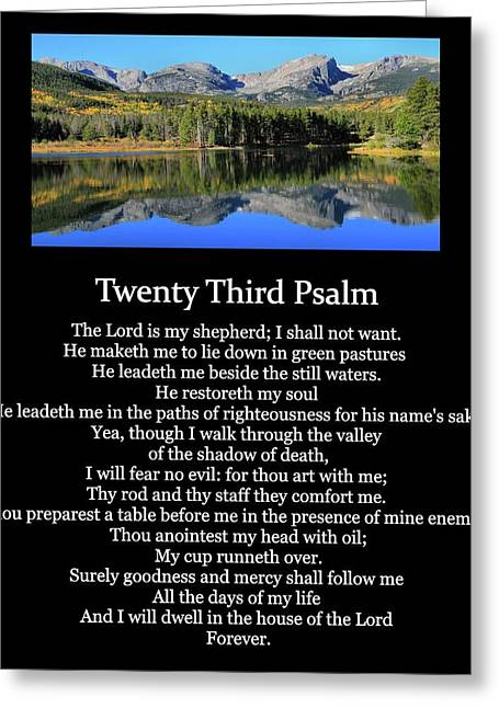 Psalm 23 Mountain Reflection Greeting Card by Dan Sproul