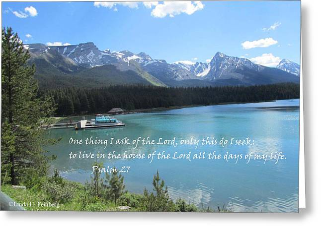 Greeting Card featuring the painting Psalm 27 With Maligne Lake by Linda Feinberg