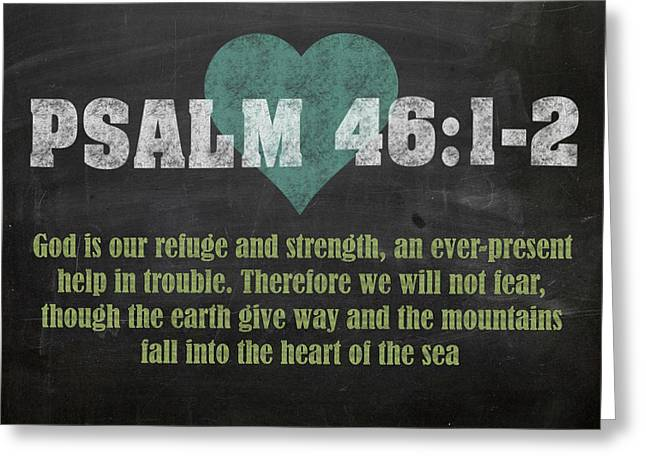 Psalm 46 12 Inspirational Quote Bible Verses On Chalkboard Art Greeting Card