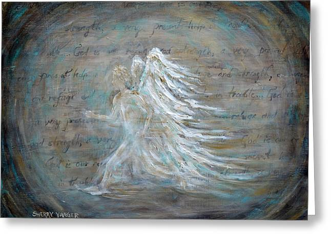 The Running Angel Greeting Card by Sherry Montgomery