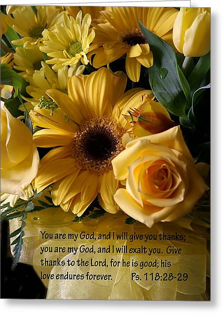 Psalms One Hundred Eighteen Twenty Eight With Yellow Bouquet Greeting Card by Linda Phelps