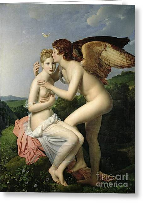 Francois Pascal Simon Greeting Cards - Psyche Receiving the First Kiss of Cupid Greeting Card by Gerard