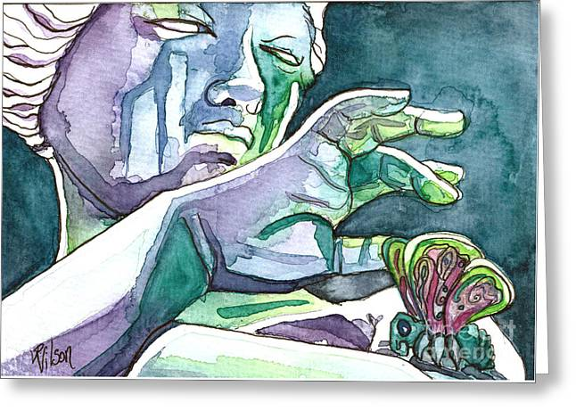Psyche Transforms Greeting Card by D Renee Wilson